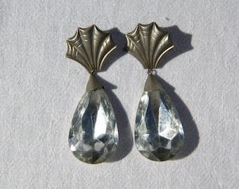 Vtg 80s Huge Rhinestone Drop Plastic Earrings