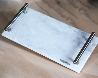 Marble Vanity Or Serving Tray With Stainless Steel Handles - White and Gray Marble Tray - Elegant Gift - Home and Living
