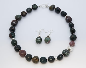 Original Handmade Gemstone and Sterling Silver Necklace Set, Indian Bloodstone Jewelry Set
