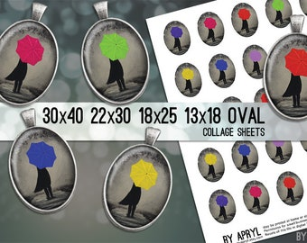 Digital Collage Sheet Oval Girl with Umbrella  30x40 22x30 18x25 13x18  Oval Digital Collage Images for Glass and Resin Pendants Cameo