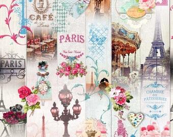 Delicious Paris fabric - Fabric eiffel tower - patisserie fabric - fabric treats - fabric heart - retro - vintage fabric - 1/2 meter fabric