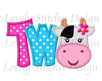 Cow Birthday TWO For Girls Applique Machine Embroidery Design NO:0678