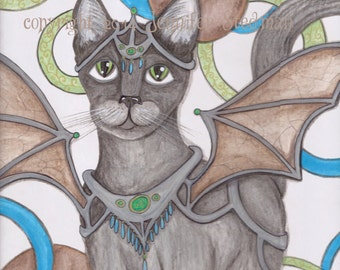 Toby, Angel Cat art, grey tabby feline