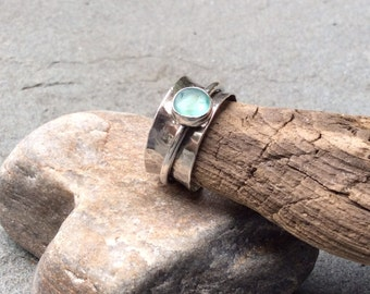 Sea glass jewelry, The Original sterling silver and sea glass spinner fidget ring