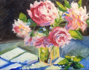 Original Oil on canvas Still life Oil Pink flowers floral painting