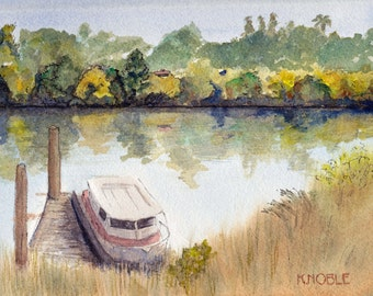 "8x10"" Houseboat on the Tree-Lined Sacramento Delta."