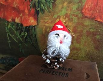 Santa Ornament Vintage Christmas Holiday Decor Pinecone Handmade