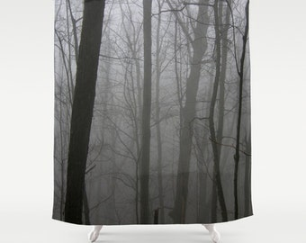 Fabric Shower Curtain - Foggy Forest Trees - Black and White Gray - Decorative Shower Curtain - 71x74 inches
