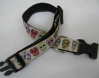 Dia De Los Muertos Sugar Skulls Calavera - Dog Collar - MULTIPLE SIZES AVAILABLE
