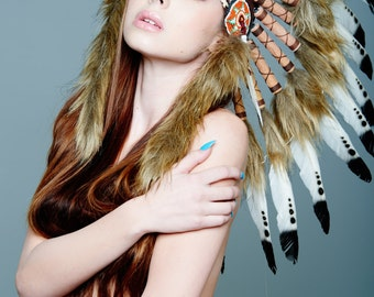 Native American Inspired Indian Headdress / Warbonnet White Feathers with Black Tips (SH014), 26in