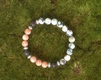 Mala inspired Bracelet - Sunstone, Moss Agate and Lava Rock Beads