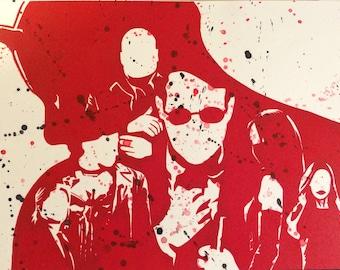 "Daredevil - 9""x12"" - Handmade - Original Linocut Block Print - Limited Edition"