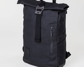 Roll Top Backpack, Laptop Backpack, Roll Top, Backpack, Mens Backpack, Canvas Backpack, Travel Backpack, Black Backpack, Hiking Backpack