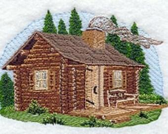 Log Cabin Embroidered Flour Sack Hand/Dish Towel