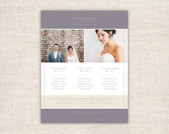 Photography Pricing Template Design - Photo Marketing Template for Photographers - Wedding Photoshop Design Templates, INSTANT DOWNLOAD