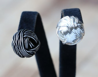 Women Brass Ball of Wool Earrings. Reel string-strand-stripe wire coil-hank-spool. Antique/Shiny Silver round globe-pill-sphere stud Earring