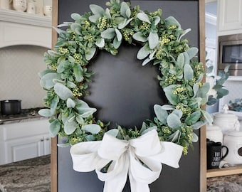 "16""-32"" Lamb's Ear, Boxwood & Berries Grapevine Wreath. Farmhouse Wreath. Door Wreath. Monogram Wreath."