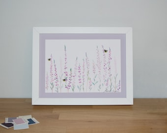Heather and Bee 18x24cm Watercolour Print  | Signed Glicee Print | by Hannah Knapton | Pink, Purple and White