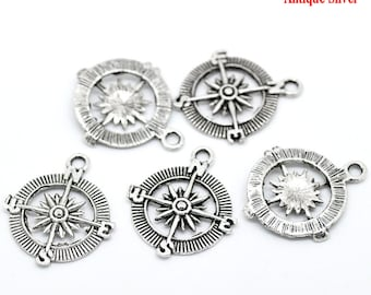 5 Pieces Antique Silver Compass Charms