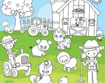 80% OFF SALE Farm animals digital stamp commercial use, black lines, vector graphics, digital stamp, farmer, friends digital images - DS1120