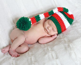 Crochet Christmas Baby Elf Hat, Photography Prop, Baby Boy, Baby Girl, You pick size, Ready to Ship