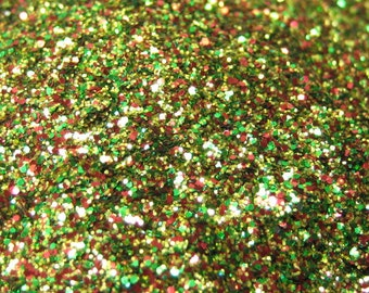 Christmas glitter solvent resistant holiday hex mix .015 .004 14 grams / half ounce bag by weight 1 Fl. ounce cosmetic grade red green gold