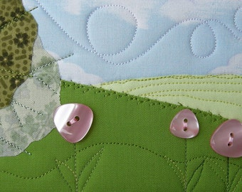 Quilt Art - Fabric Postcard - Gift for Her - Quilted Greeting Car - Quilted Fabric Postcard - Pink Button Flowers - Hilly Landscape