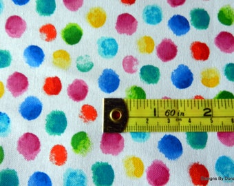One Fat Quarter Cut Quilt Fabric, Fingertip Painted Colorful Dots, Hi-Fashion Fabrics, Sewing-Quilting-Craft Supplies