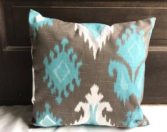 SALE Nursery decor Pillow covers Pillow cases Ikat print  Blue Gray and white Pillow 20x20, 18X18, 16X16,14x14, 12x16, 12x12, 10x10