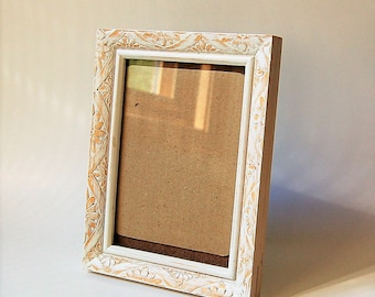 White Distressed Chippy Hand Carved Wood Frame