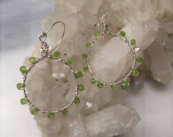 Peridot Gemstone and Sterling Silver Hoops  Hand forged Wire Wrapped Hoop  Dangle Earrings   Genuine Peridot  August Birthstone Jewelry