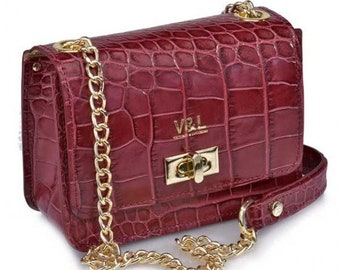 Women's leather handbag Victorio and Lucchino Ref 10322bucoco with shoulder strap color burgundy-leather handbags with engraved coconut quality