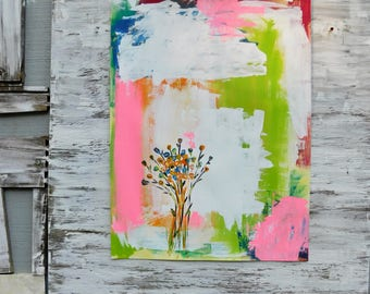 Abstract Painting, Floral Art, Whimsical, Wall Art, Acrylic Painting, Rustic Painting, Modern,  Home Decor, Christmas Gift, Farm House Style