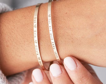 Delicate Thin Personalized Cuff, Thin Cuff Bracelet, Skinny Mantra Bracelet, Stacking Bracelet in Sterling Silver, Gold Fill Cuff
