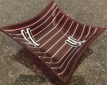Two bars; Modern Fused Art Glass small square Salsa bowl or candy dish, Garnet Red with black, white accent pieces, decorative party bowl