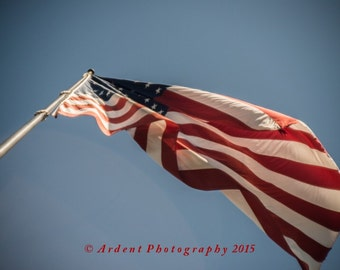 Star Spangled Banner From Below Red White and Blue Patriotic Art Photography Old Glory in Sunlight Against Blue Skies