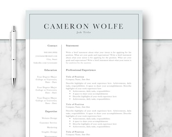 Professional Resume Template, CV, Curriculum Vitae, Template Design, Instant Download For Word, Two-Page Resume, Blue, Cameron
