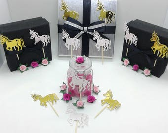 24 cupcake toppers/decorations. Pale pink glitter unicorns & metallic gold unicorns. Girls birthdays. Girls christenings/baptisms.UK seller