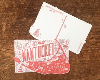 Nantucket Postcard, Greetings from Nantucket, Die Cut Letterpress Postcard