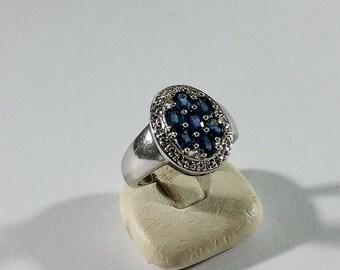 18 mm Ring Silver 925 aquamarine vintage SR980