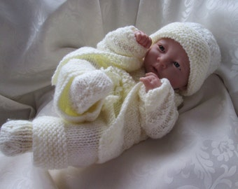 "Hand knitted dolls clothes for 15"" La Newborn Berenguer doll or simliar, made to order set."
