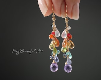 Gemstone Earrings Semi Precious Multi Stone Earrings Birthstone Earrings Dainty Earrings Delicate Earrings Crystal Earrings Gold Filled