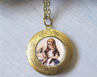 Alice In Wonderland Locket, Alice Jewelry, Alice Pendant, Photo Locket, Locket Necklace