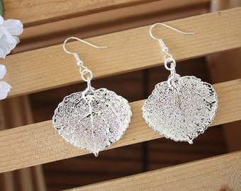 Silver Aspen Leaf Earrings, Real Leaf Earrings, Aspen Leaf, Sterling Silver Earrings, LESM182