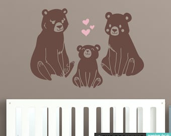 Bear Family with Sitting Cub and Hearts Wall Decal - Cute Baby Nursery Bears Decal Stickers - WAL-2234