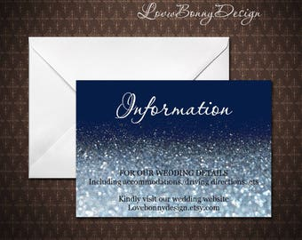 Navy and Silver Glitter Wedding Information Card Template,Editable Text, Microsoft Word, Instand Download, code-034