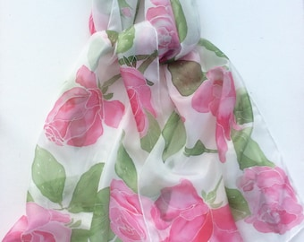 Pink Roses hand painted silk scarf.  Rose silk scarf.  Silk scarf hand painted
