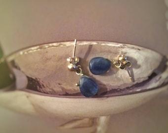Kyanite Silver earrings / Blue Kyanite ring in Sterling Silver