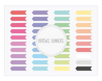 Arrows Banners Clip Art - Digital Banner png for Scrapbooking, Web, Blogs, Collages...