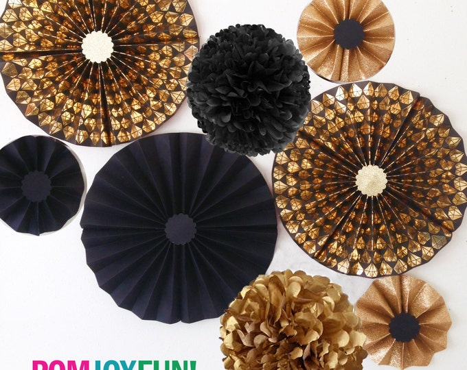 Black and Gold DIAMONDS Rosettes , Black and Gold Party Fans, Pom Wheel, Rosettes Black Paper Medallions, Paper Pinwheel